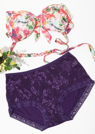 PURPLE LACEY HIGH WAIST HIPSTERS
