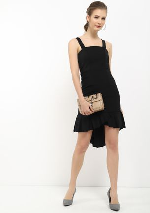 SOME FRILLS AND THRILLS BLACK ASYMMETRICAL DRESS