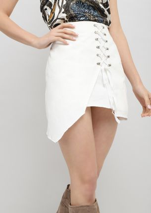 GOING LACES ABOUT YOU WHITE MINI SKIRT