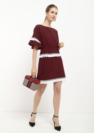 MEETING CANCELED MAROON SKATER DRESS