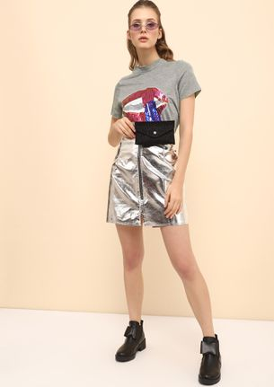 A DAZZLING POUT GREY HI-LOW T-SHIRT
