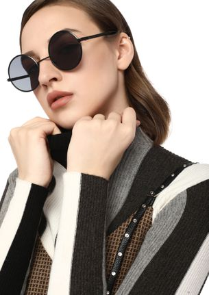 LIFE IS A CIRCLE BLACK ROUND SUNGLASSES