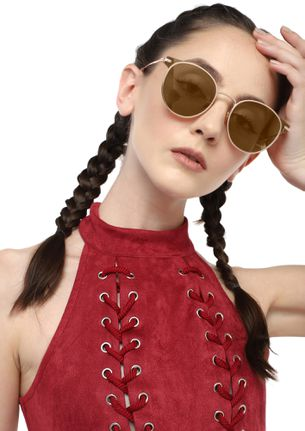 WHAT GOES A-ROUND TEA BROWN ROUND SUNGLASSES