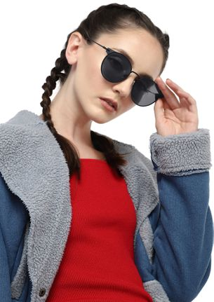 WHAT GOES A-ROUND BLACK ROUND SUNGLASSES