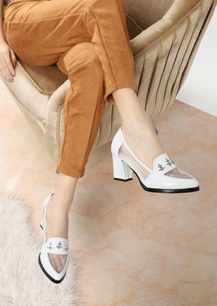 BORN TO RULE WHITE LOAFER PUMPS
