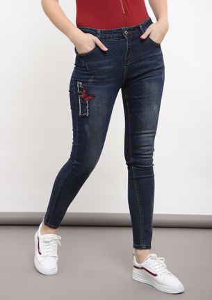 THE SECOND SKIN BLUE SKINNY JEANS