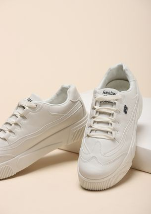 ABOVE THE CURVE BEIGE FLATFORM SNEAKERS