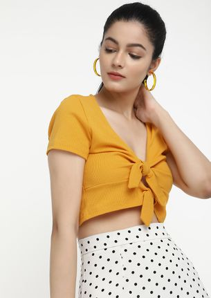 WHEN THE HEAT GOES UP YELLOW CROP TOP