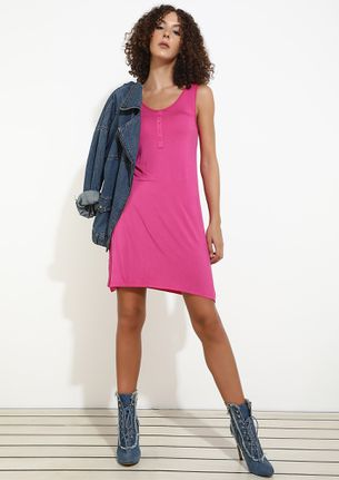 Lovely Time To Be In Fuchsia Shirt Dress