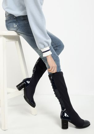 PATENT YOUR STYLE NAVY HEELED BOOTS
