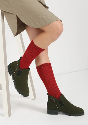 CLASSIC WITH A TWIST GREEN CHELSEA BOOTS