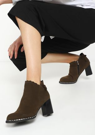 TAKING IT SERIOUSLY KHAKI ANKLE BOOTS