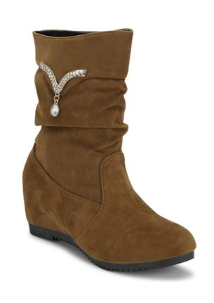BLING OF HAPPINESS BROWN ANKLE BOOTS