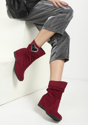 MY NEW FLING MAROON ANKLE BOOTS