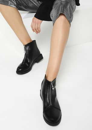 SLIP OF THE ZIP BLACK ANKLE BOOTS