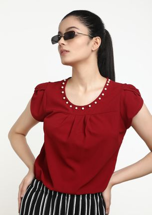 THINKING ON THESE LINES BURGUNDY TOP