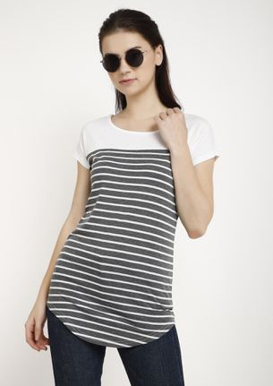 CHORES TO FINISH LIGHT GREY STRIPED TUNIC TOP