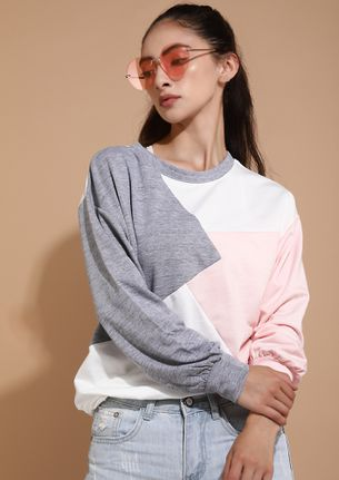 KEEP ME COVERED IN COZY GREY PINK JUMPER