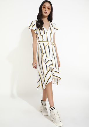 STRIPE UP THE OCCASION WHITE DRESS