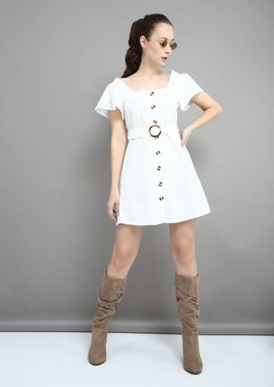 BELT-BUCKLE UP WHITE SKATER DRESS