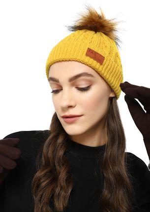 SUCH A PUFF BALL YELLOW BOBBLE HAT