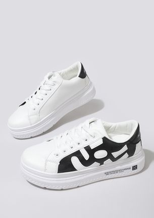 SASS IT UP WHITE BLACK TRAINERS