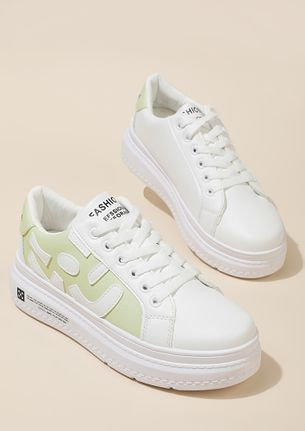 SASS IT UP WHITE GREEN TRAINERS