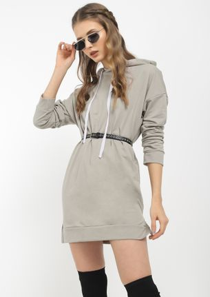 FIND ME COZY IN GREY JUMPER DRESS