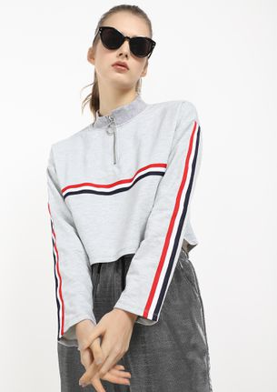 OVER THOSE STRIPES GREY CROPPED SWEATSHIRT