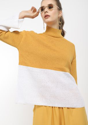 FALL RIGHT IN KNIT YELLOW JUMPER