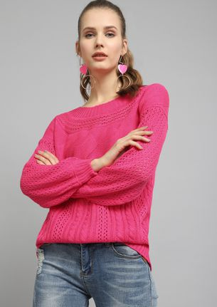 ALL OVER STORY PINK JUMPER