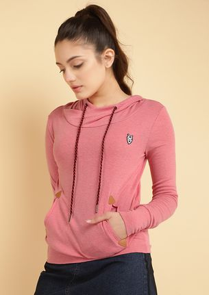 NO COLD DAYS PINK HOODED T-SHIRT