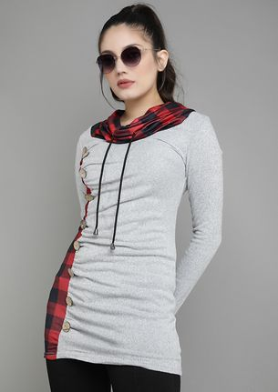 PULL THE RIGHT STRING GREY TUNIC TOP