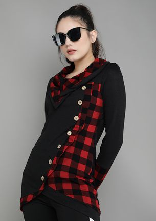 PLAID WITH BUTTONS BLACK RED TUNIC TOP