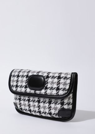 WOVEN WITH CARE BLACK WHITE SLING BAG