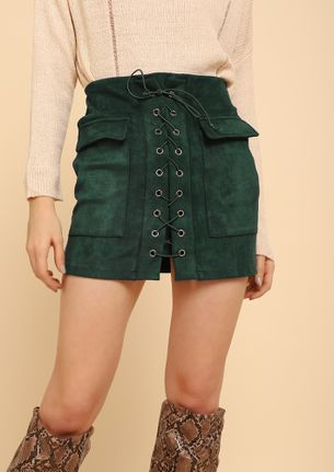 CAUGHT YOU IN LACE-UPS DARK GREEN A-LINE SKIRT