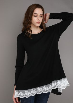 LACE ME UP BLACK TUNIC TOP