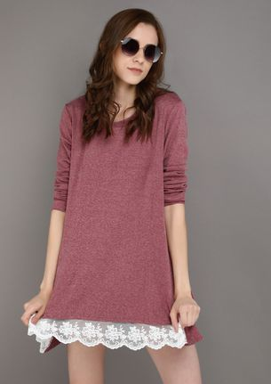 LACE ME UP PINK TUNIC TOP