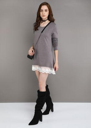 LACE ME UP GREY TUNIC TOP
