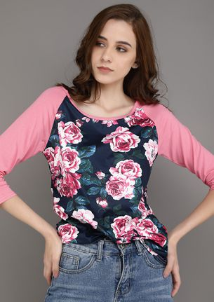 FLORAL GLITTERING PINK TOP