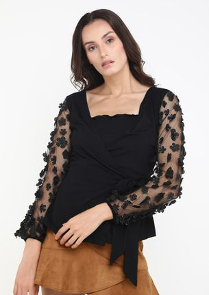 LADY OF MY HEART BLACK BLOUSE