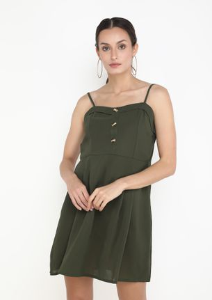 CARRYING ME FORWARD ARMY GREEN DRESS