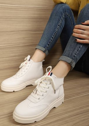 STAY SNEAKY WHITE SNEAKERS