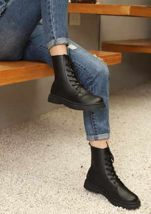 TIED AND TESTED BLACK ANKLE BOOTS