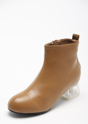 FANCY A CLEAR TREATMENT TAN ANKLE BOOTS