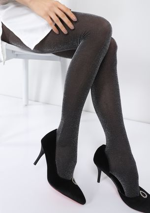 COLD HEART BOLD LEGS SILVER SHIMMER STOCKINGS
