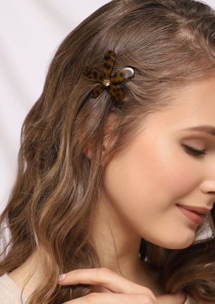 WILD FLOWER HEART BROWN HAIR CLIP