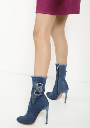 INTO THE FRAY BLUE DENIM HEELED BOOTS