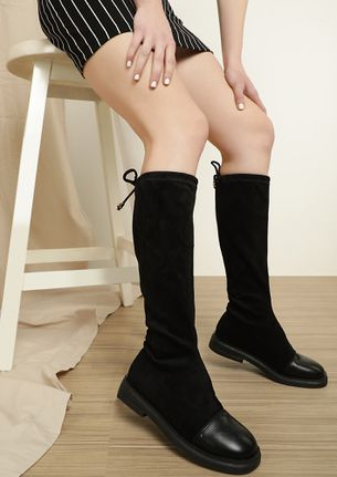 BOW AND HOW BLACK CALF-LENGTH BOOTS