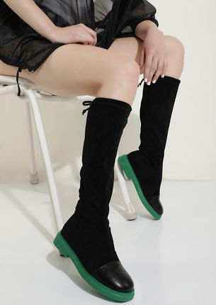 BOW AND HOW GREEN CALF-LENGTH BOOTS